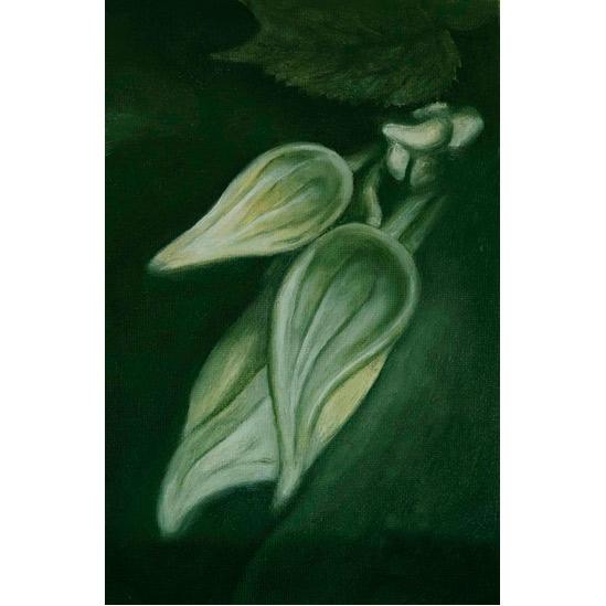 018. Grønn plante,14,5 x 22 cm