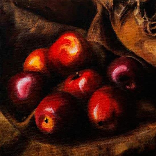 042. Epler på striesekk, 20 x 20 cm