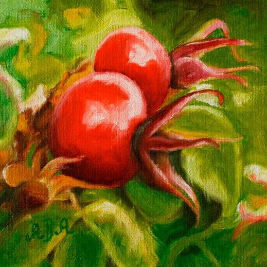 059. Nyper på busk, 15 x 15 cm