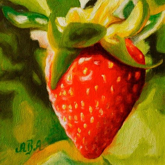 063. Jordbær ute 15 x 15 cm