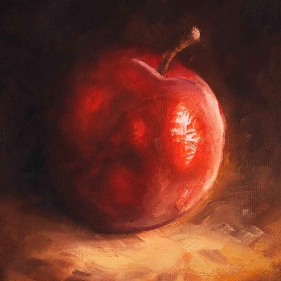 004. Rødt eple, 15 x 15 cm