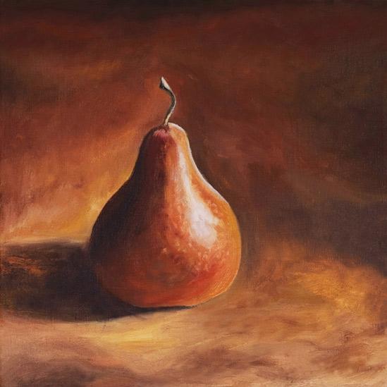 008. Stor, brun pære, 30 x 30 cm